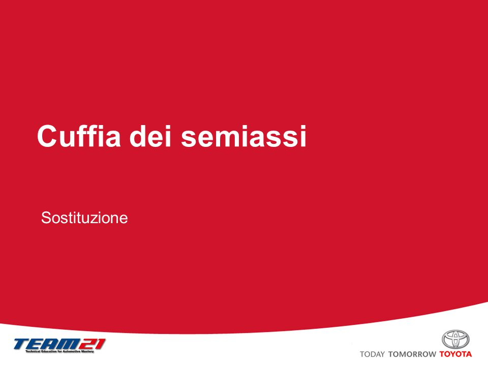 Toyota Motor Italia – A/S Training Cuffia dei semiassi Smontaggio fascetta ad omega