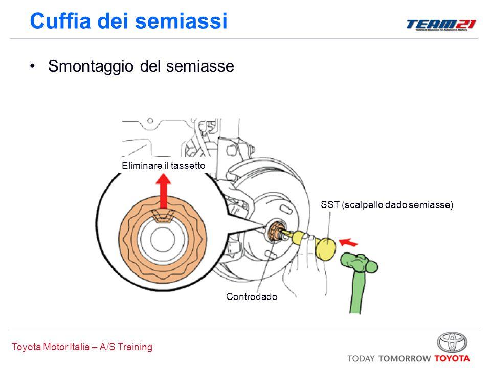 Toyota Motor Italia – A/S Training Segni di riferimento Anello elastico Espansore anello elastico Montaggio cuffia interna Rullino giunto tripodeSegni di riferimento Cuffia dei semiassi