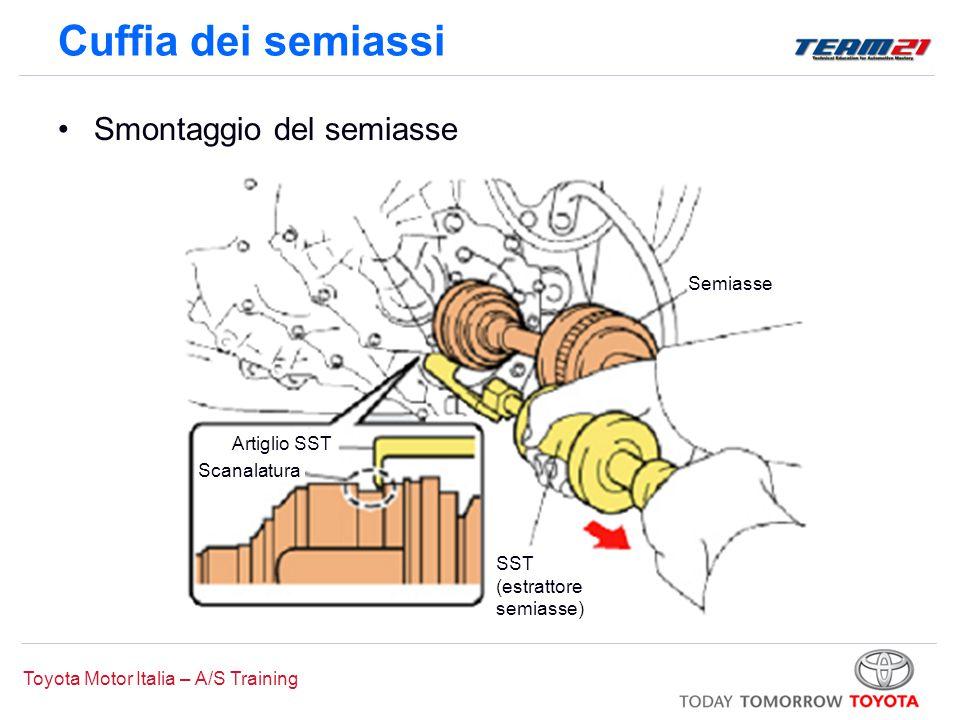 Toyota Motor Italia – A/S Training Cuffia dei semiassi Smontaggio del semiasse –Avvertenza: Durante la rimozione del semiasse dal cambio o dal differenziale, un tecnico tiene in trazione il semiasse, l altro lo rimuove con l SST