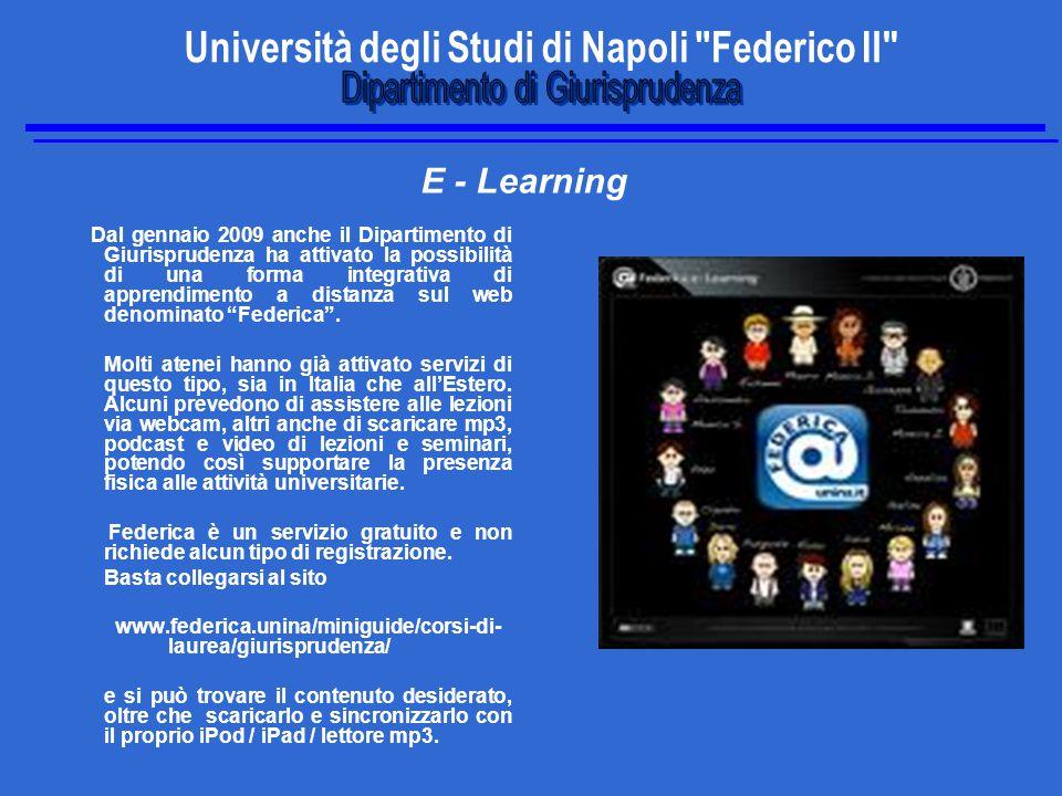 E - Learning Dal gennaio 2009 anche il Dipartimento di Giurisprudenza ha attivato la possibilità di una forma integrativa di apprendimento a distanza sul web denominato Federica .