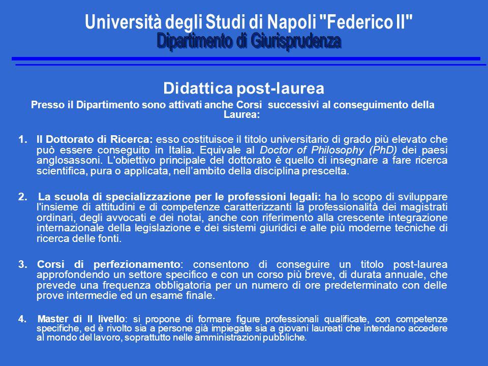 Didattica post-laurea Presso il Dipartimento sono attivati anche Corsi successivi al conseguimento della Laurea: 1.Il Dottorato di Ricerca: esso costituisce il titolo universitario di grado più elevato che può essere conseguito in Italia.