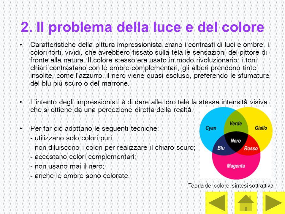 2. Il problema della luce e del colore Caratteristiche della pittura impressionista erano i contrasti di luci e ombre, i colori forti, vividi, che avr