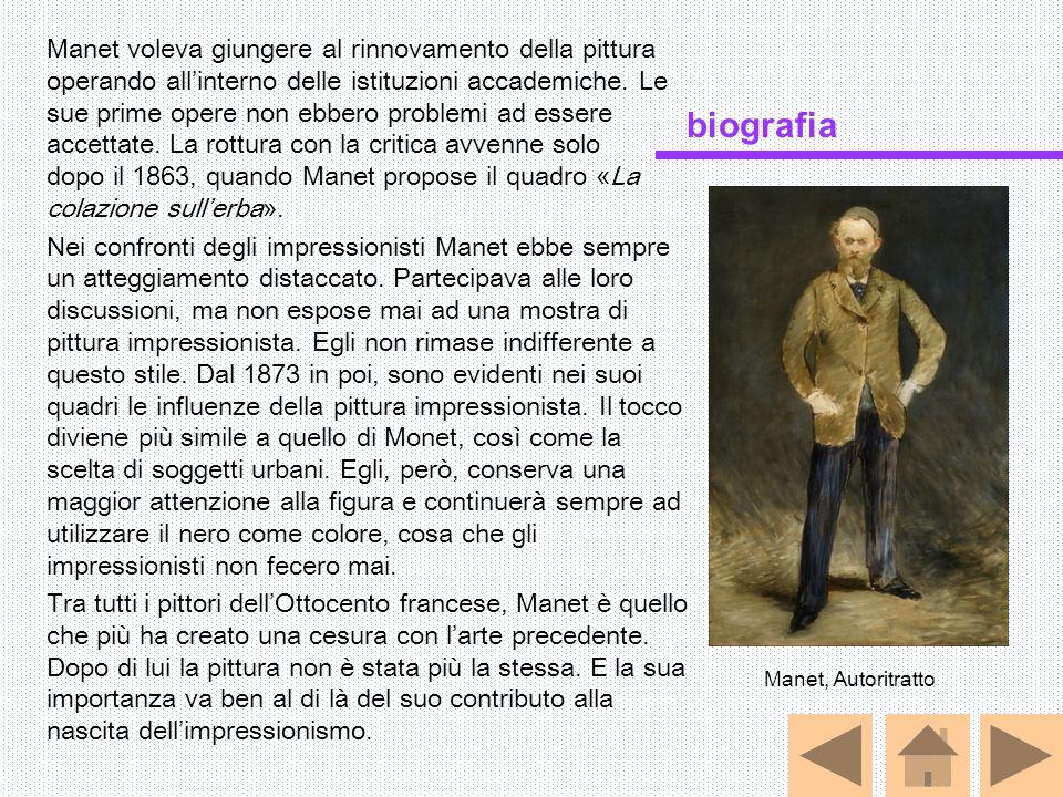 Manet voleva giungere al rinnovamento della pittura operando all'interno delle istituzioni accademiche. Le sue prime opere non ebbero problemi ad esse