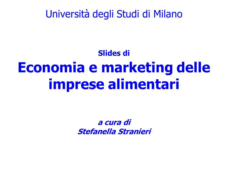 Università degli Studi di Milano a cura di Alessandro Banterle Slides di Economia e marketing delle imprese alimentari a cura di Stefanella Stranieri