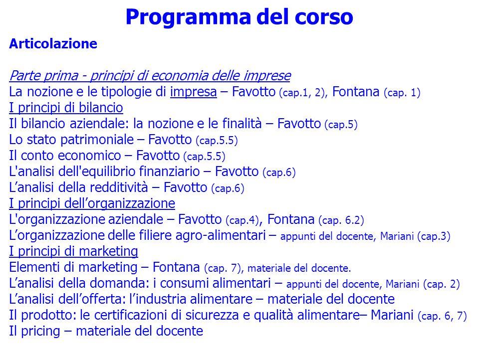 Programma del corso Articolazione Parte prima - principi di economia delle imprese La nozione e le tipologie di impresa – Favotto (cap.1, 2), Fontana (cap.