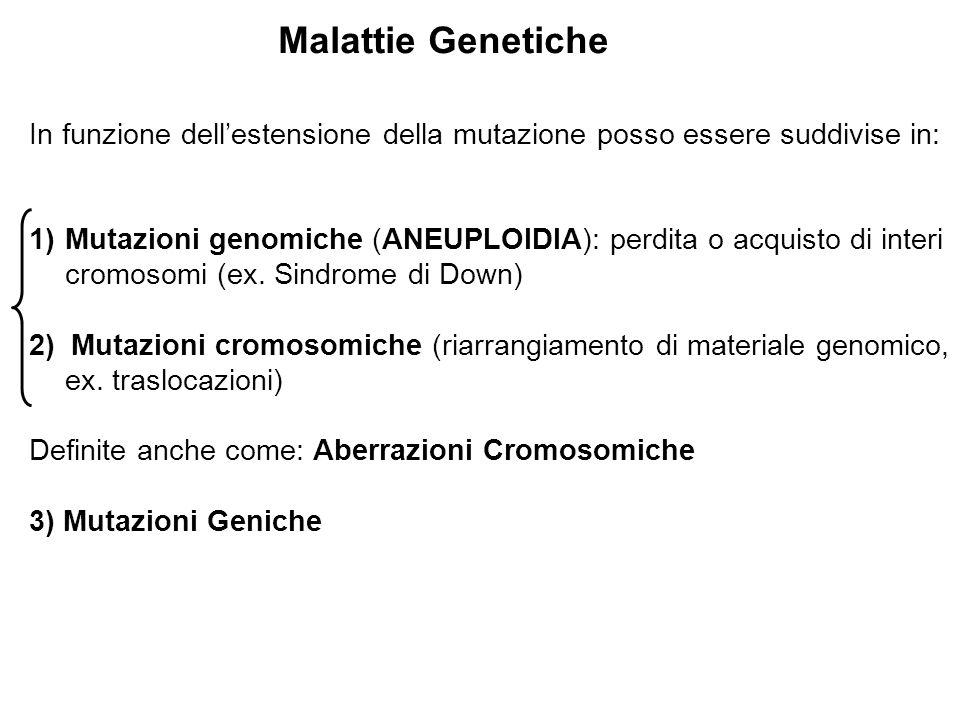 In funzione dell'estensione della mutazione posso essere suddivise in: 1)Mutazioni genomiche (ANEUPLOIDIA): perdita o acquisto di interi cromosomi (ex