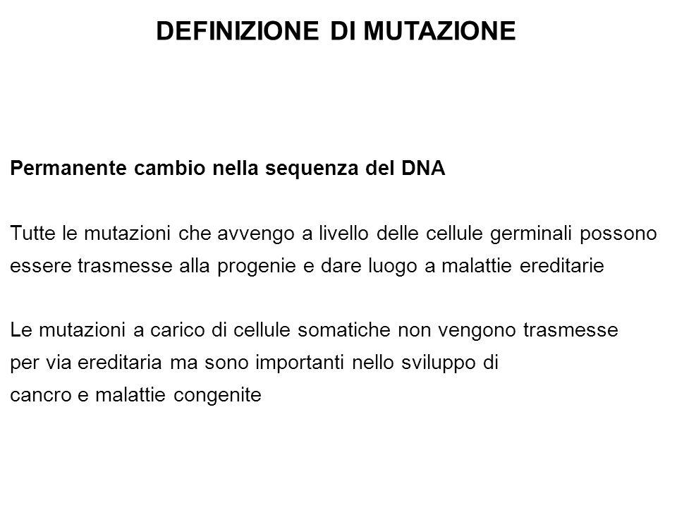 DEFINIZIONE DI MUTAZIONE Permanente cambio nella sequenza del DNA Tutte le mutazioni che avvengo a livello delle cellule germinali possono essere tras