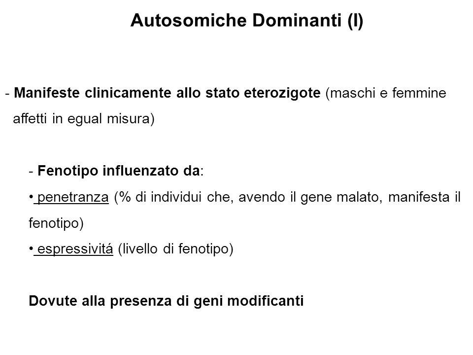 Autosomiche Dominanti (I) - Manifeste clinicamente allo stato eterozigote (maschi e femmine affetti in egual misura) - Fenotipo influenzato da: penetr