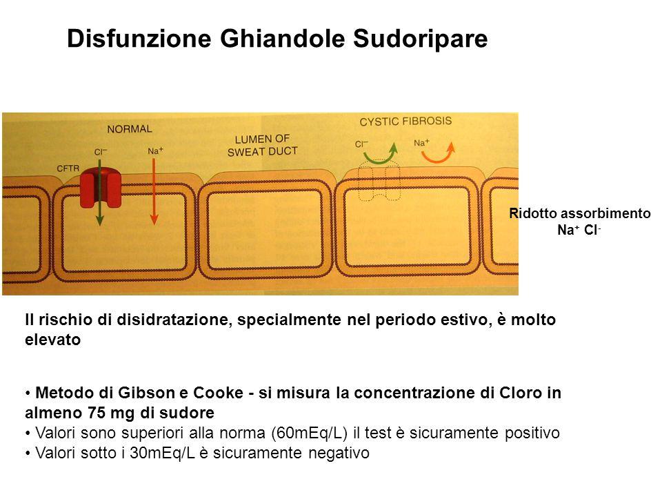 Disfunzione Ghiandole Sudoripare Ridotto assorbimento Na + Cl - Metodo di Gibson e Cooke - si misura la concentrazione di Cloro in almeno 75 mg di sud