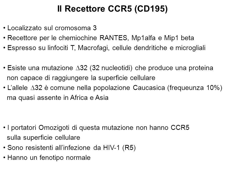 Il Recettore CCR5 (CD195) Localizzato sul cromosoma 3 Recettore per le chemiochine RANTES, Mp1alfa e Mip1 beta Espresso su linfociti T, Macrofagi, cel
