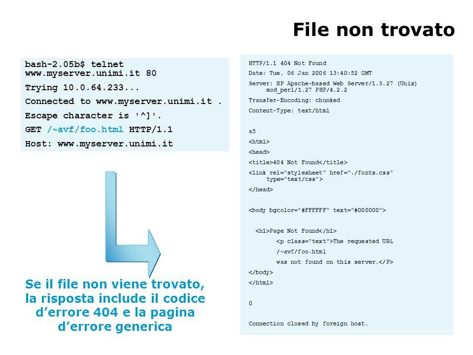 Se il file non viene trovato, la risposta include il codice d'errore 404 e la pagina d'errore generica File non trovato bash-2.05b$ telnet www.myserver.unimi.it 80 Trying 10.0.64.233...