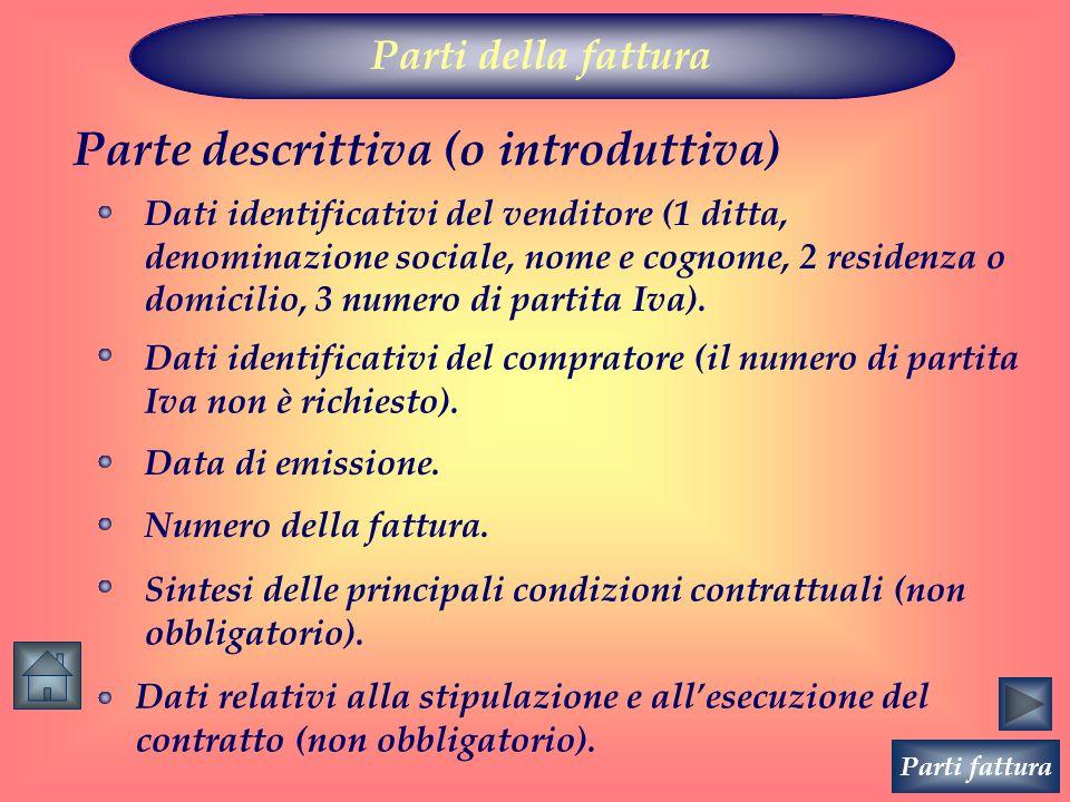Parti della fattura Parte descrittiva (o introduttiva) Dati identificativi del venditore (1 ditta, denominazione sociale, nome e cognome, 2 residenza