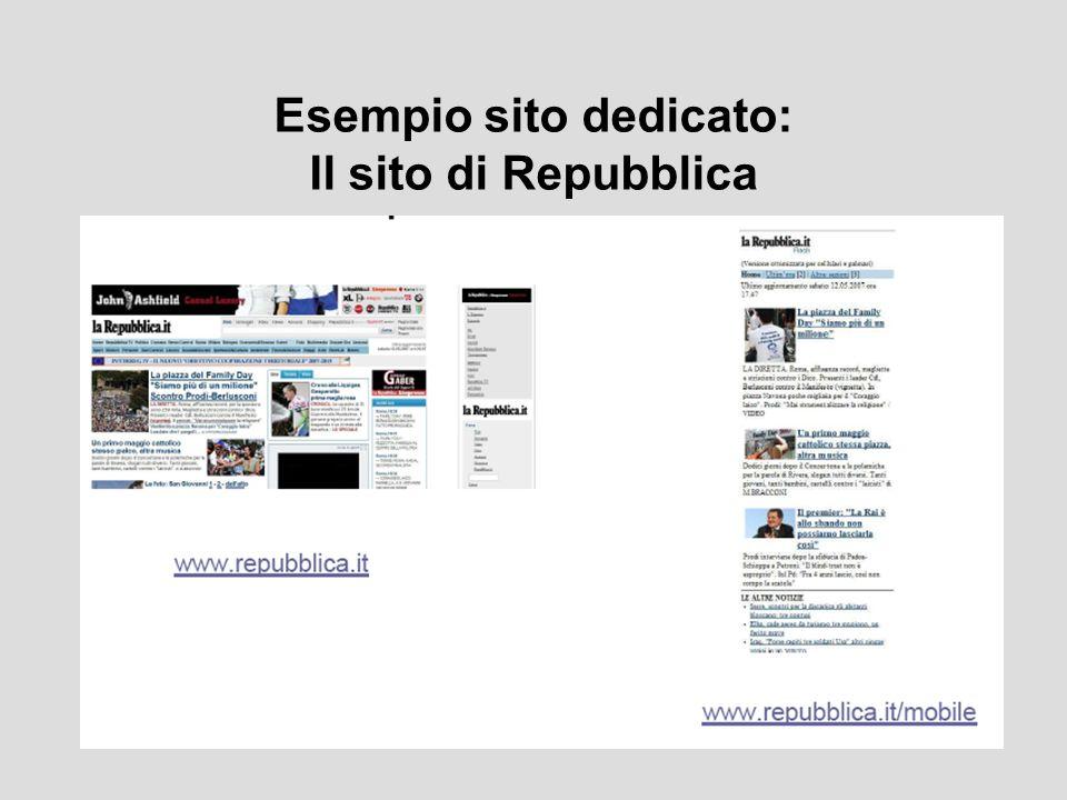 Esempio sito dedicato: Il sito di Repubblica