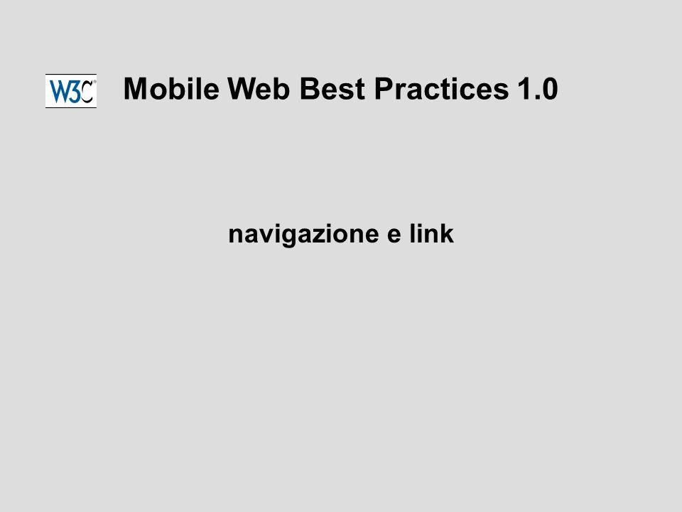 Mobile Web Best Practices 1.0 navigazione e link