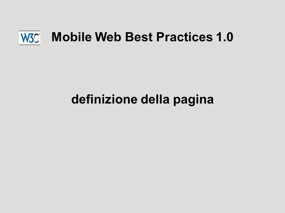 Mobile Web Best Practices 1.0 definizione della pagina