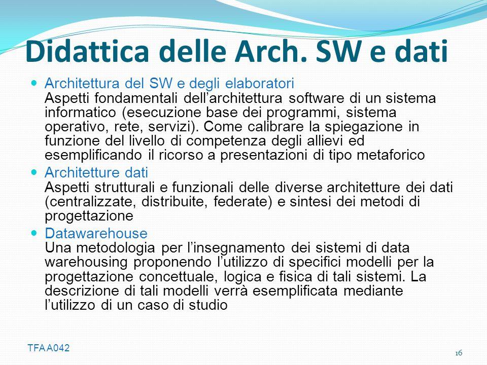 TFA A042 Didattica delle Arch. SW e dati Architettura del SW e degli elaboratori Aspetti fondamentali dell'architettura software di un sistema informa