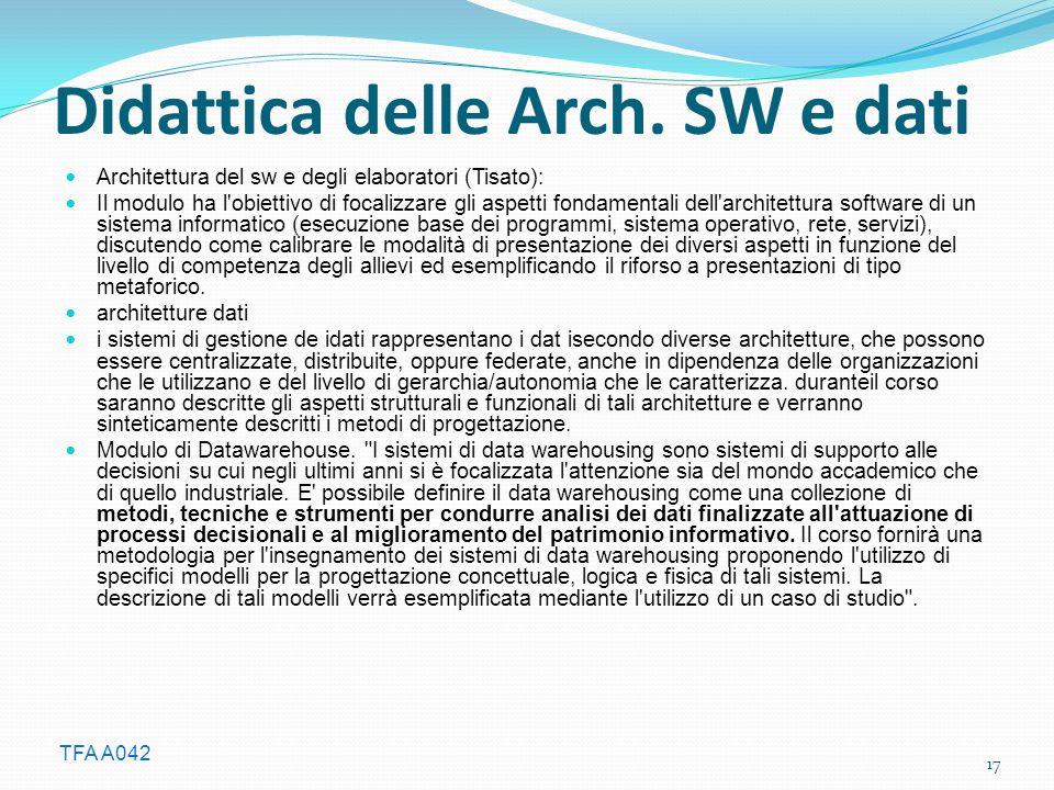TFA A042 Didattica delle Arch. SW e dati Architettura del sw e degli elaboratori (Tisato): Il modulo ha l'obiettivo di focalizzare gli aspetti fondame
