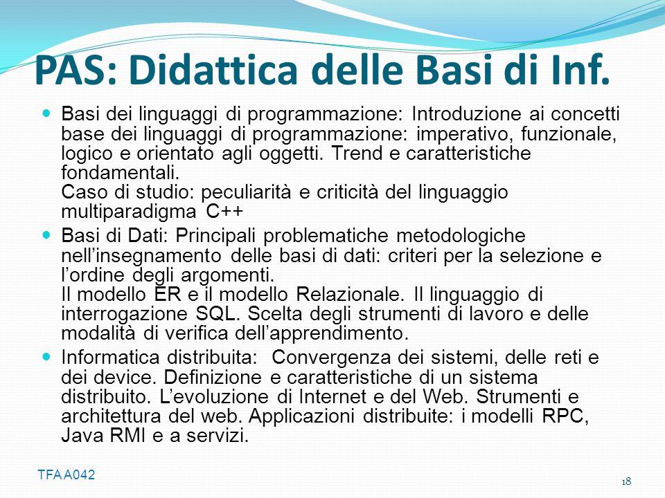 TFA A042 PAS: Didattica delle Basi di Inf. Basi dei linguaggi di programmazione: Introduzione ai concetti base dei linguaggi di programmazione: impera