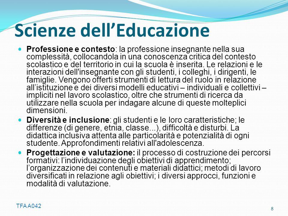 TFA A042 Scienze dell'Educazione Professione e contesto: la professione insegnante nella sua complessità, collocandola in una conoscenza critica del contesto scolastico e del territorio in cui la scuola è inserita.