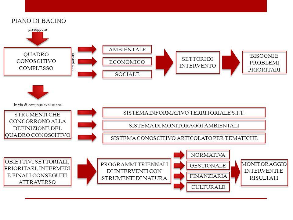 PIANO DI BACINO QUADRO CONOSCITIVO COMPLESSO presuppone component i AMBIENTALE ECONOMICO SOCIALE SETTORI DI INTERVENTO BISOGNI E PROBLEMI PRIORITARI S