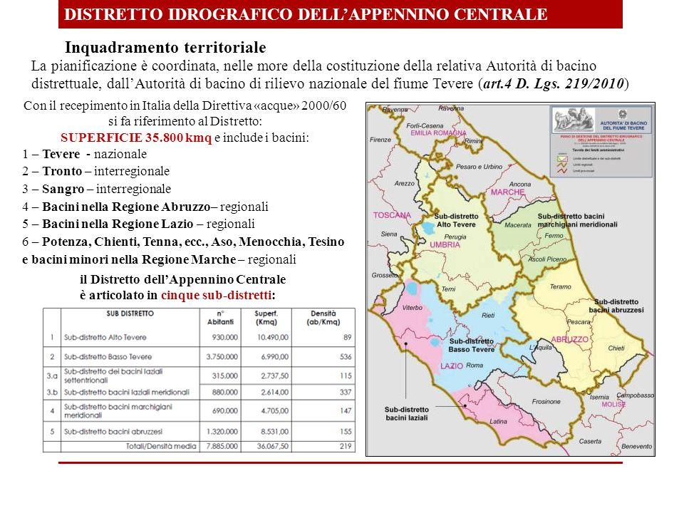Inquadramento territoriale DISTRETTO IDROGRAFICO DELL'APPENNINO CENTRALE La pianificazione è coordinata, nelle more della costituzione della relativa Autorità di bacino distrettuale, dall'Autorità di bacino di rilievo nazionale del fiume Tevere (art.4 D.