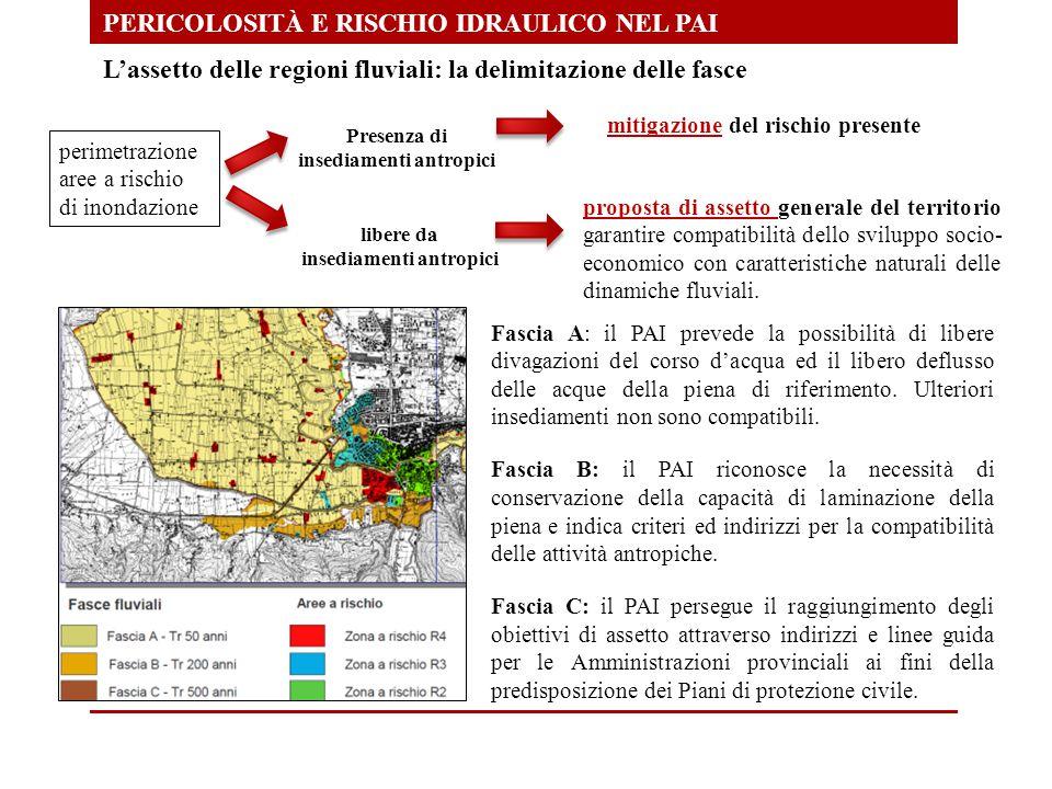 PERICOLOSITÀ E RISCHIO IDRAULICO NEL PAI L'assetto delle regioni fluviali: la delimitazione delle fasce perimetrazione aree a rischio di inondazione P