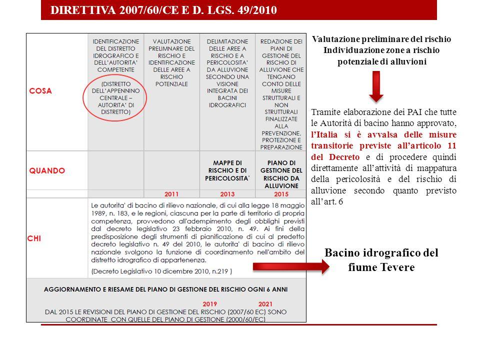 DIRETTIVA 2007/60/CE E D. LGS. 49/2010 Valutazione preliminare del rischio Individuazione zone a rischio potenziale di alluvioni Tramite elaborazione