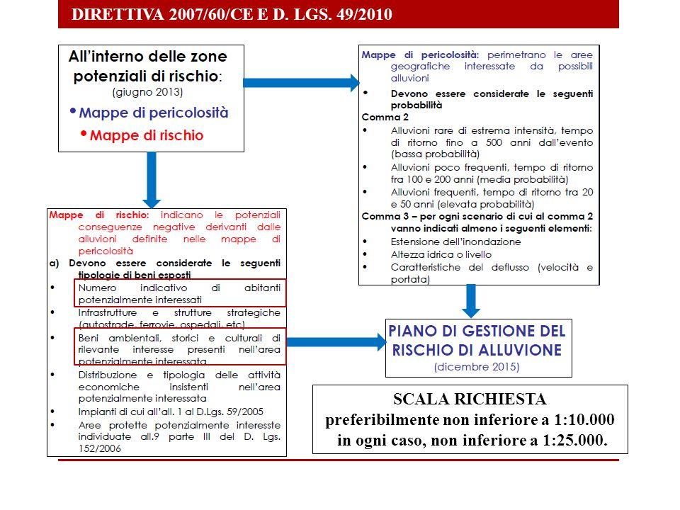 DIRETTIVA 2007/60/CE E D. LGS. 49/2010 SCALA RICHIESTA preferibilmente non inferiore a 1:10.000 in ogni caso, non inferiore a 1:25.000.