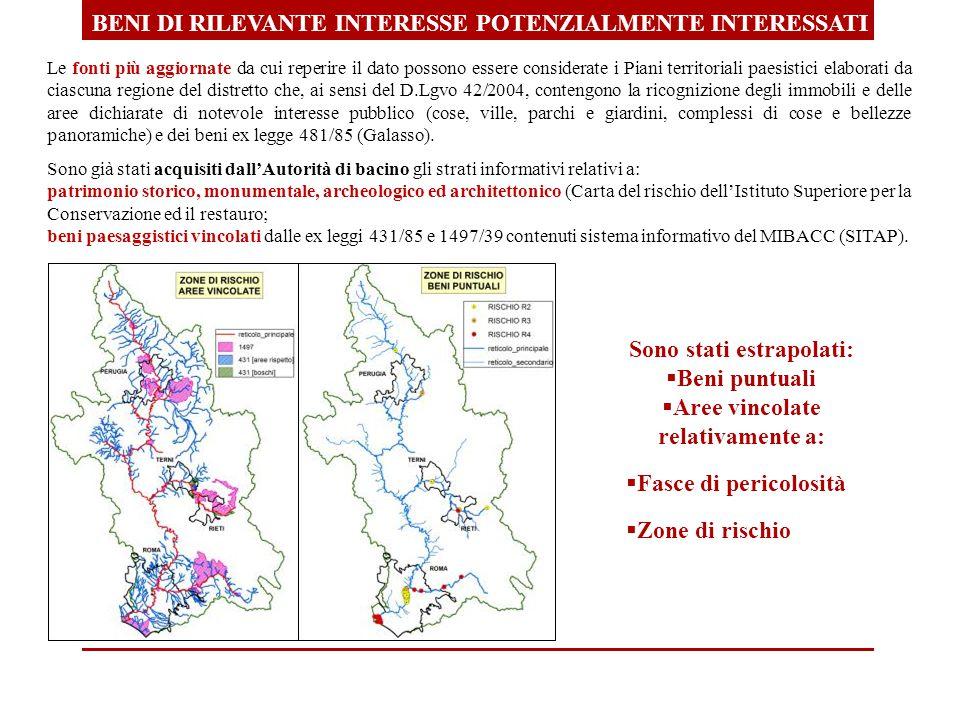 BENI DI RILEVANTE INTERESSE POTENZIALMENTE INTERESSATI Le fonti più aggiornate da cui reperire il dato possono essere considerate i Piani territoriali