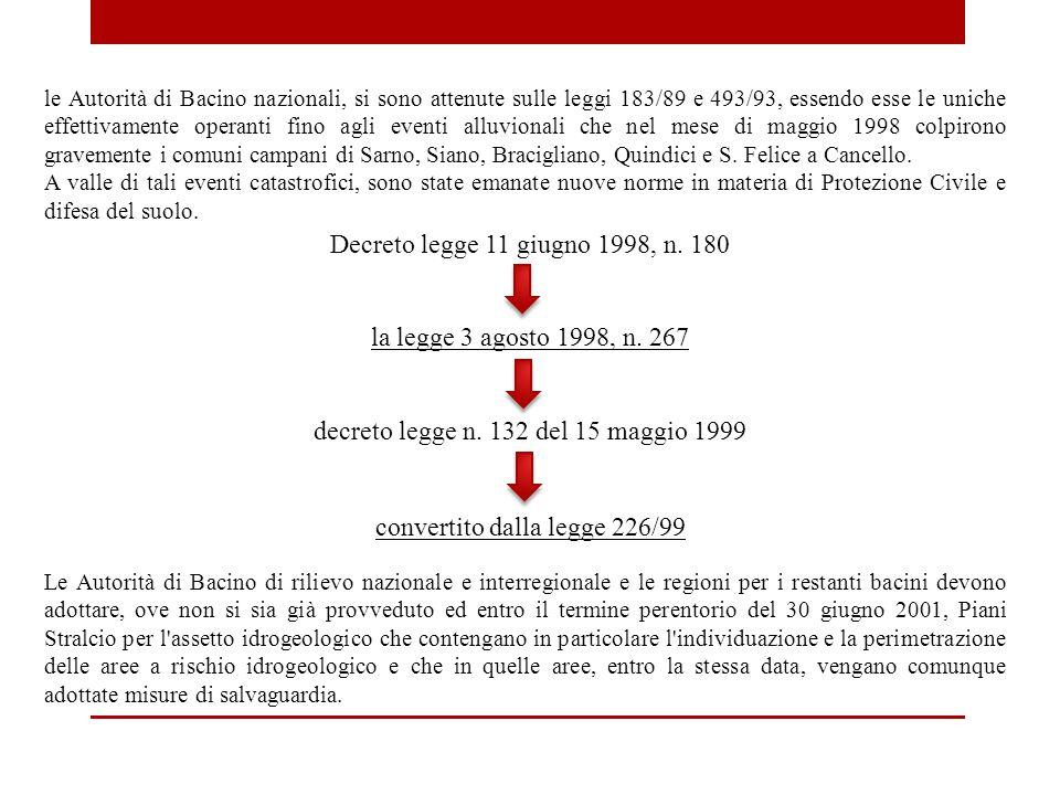 le Autorità di Bacino nazionali, si sono attenute sulle leggi 183/89 e 493/93, essendo esse le uniche effettivamente operanti fino agli eventi alluvionali che nel mese di maggio 1998 colpirono gravemente i comuni campani di Sarno, Siano, Bracigliano, Quindici e S.