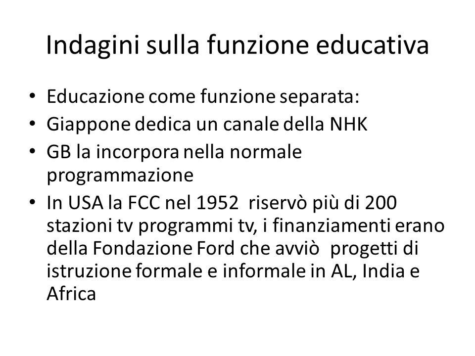 Indagini sulla funzione educativa Educazione come funzione separata: Giappone dedica un canale della NHK GB la incorpora nella normale programmazione