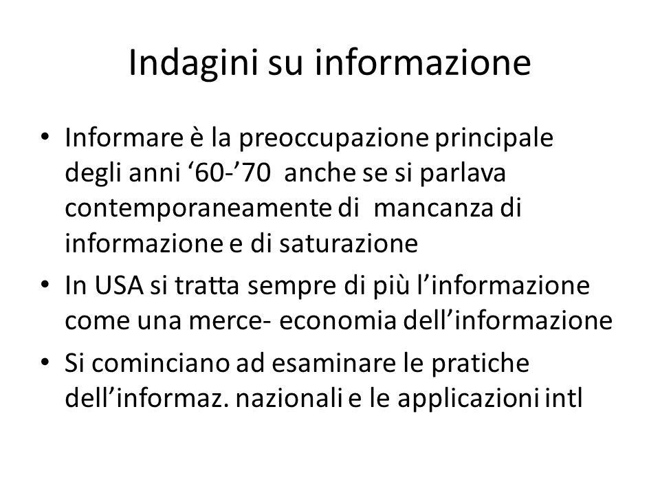 Indagini su informazione Informare è la preoccupazione principale degli anni '60-'70 anche se si parlava contemporaneamente di mancanza di informazion