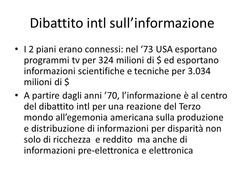 Dibattito intl sull'informazione I 2 piani erano connessi: nel '73 USA esportano programmi tv per 324 milioni di $ ed esportano informazioni scientifi