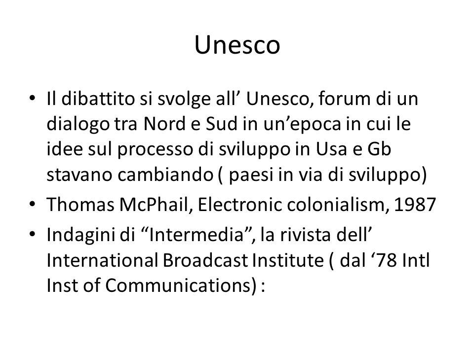 Unesco 2 pochi paesi raggiungevano i requisiti minimi dell'Unesco di 10 copie di quotidiani, 5 radio, 2 tv e 2 posti al cinema ogni 1000 ab 1972 Dichiarazione dei principi guida sull'uso della trasmissione nello spazio per il libero flusso delle informazioni, la diffusione delle informazioni e il potenziamento degli scambi culturali