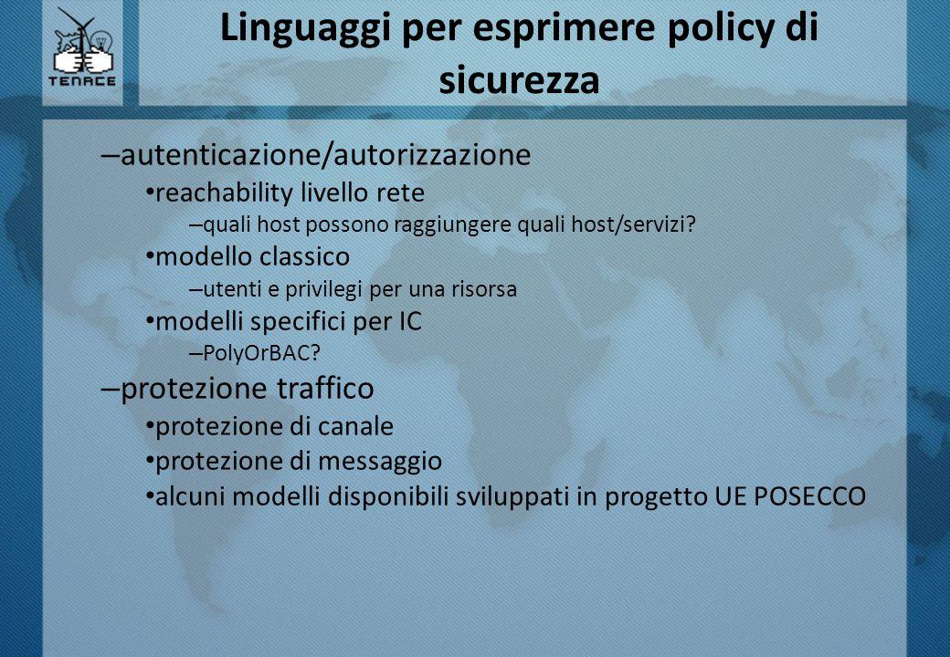 Linguaggi per esprimere policy di sicurezza – autenticazione/autorizzazione reachability livello rete – quali host possono raggiungere quali host/servizi.
