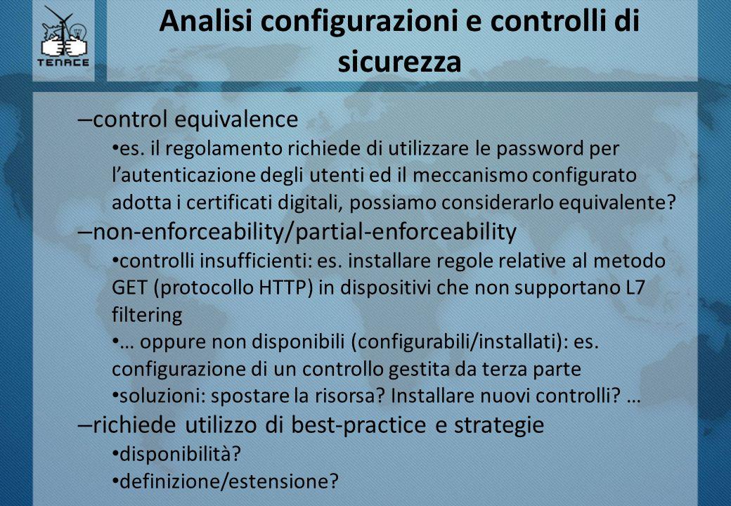 Analisi configurazioni e controlli di sicurezza – control equivalence es.
