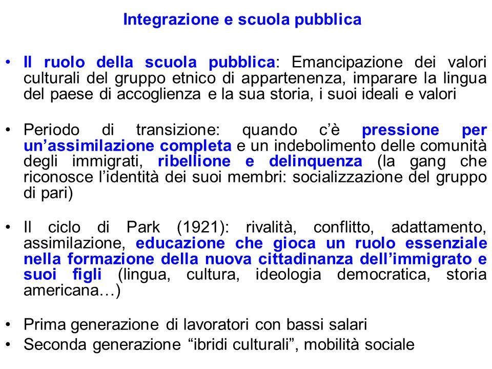 Integrazione e scuola pubblica Il ruolo della scuola pubblica: Emancipazione dei valori culturali del gruppo etnico di appartenenza, imparare la lingu