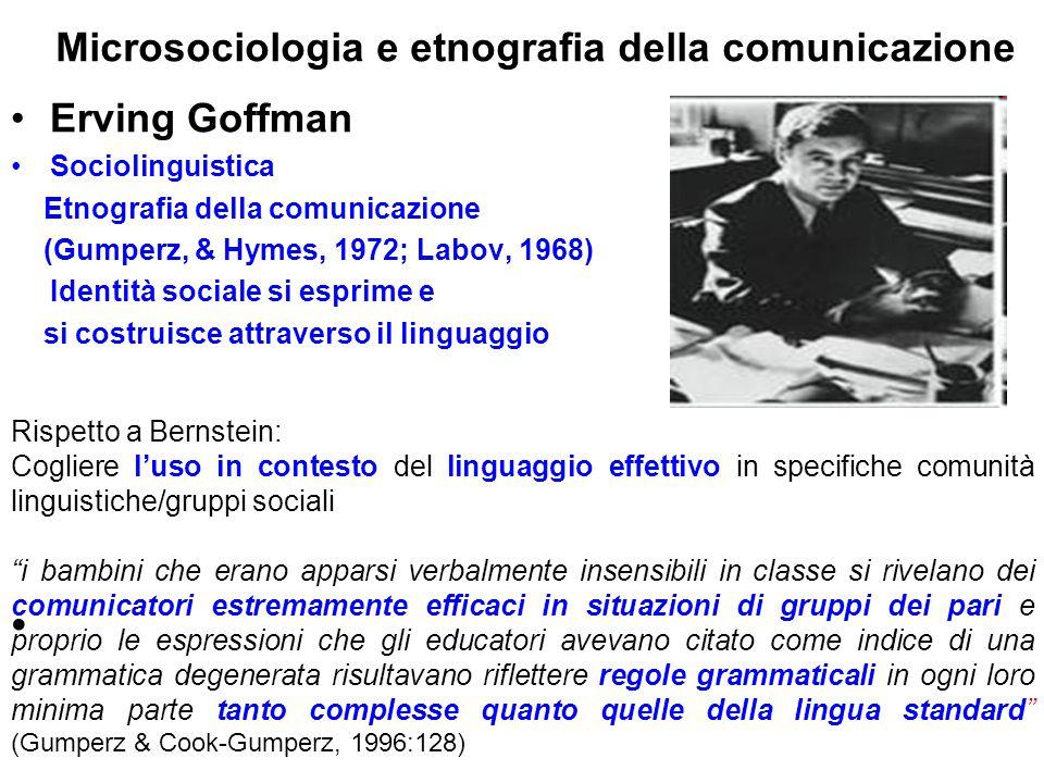 Microsociologia e etnografia della comunicazione Erving Goffman Sociolinguistica Etnografia della comunicazione (Gumperz, & Hymes, 1972; Labov, 1968)