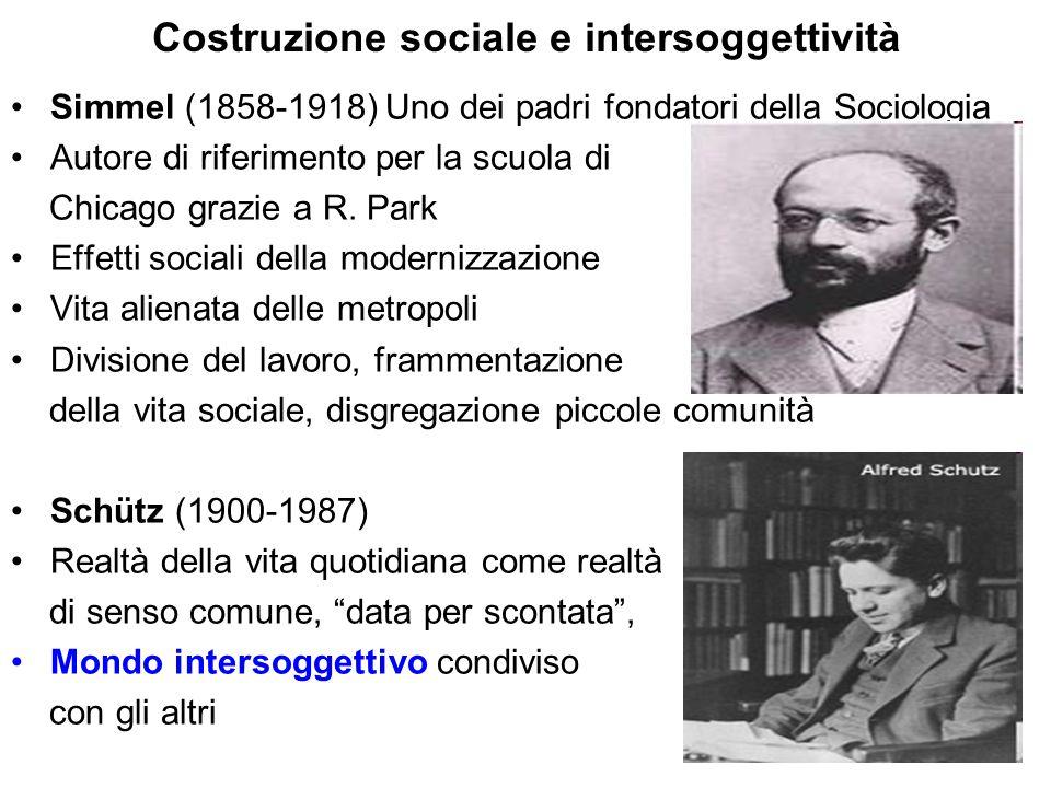 Costruzione sociale e intersoggettività Simmel (1858-1918) Uno dei padri fondatori della Sociologia Autore di riferimento per la scuola di Chicago gra
