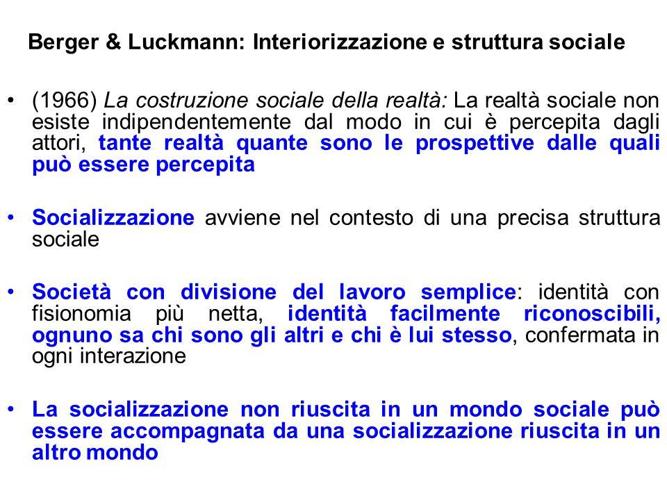 Berger & Luckmann: Interiorizzazione e struttura sociale (1966) La costruzione sociale della realtà: La realtà sociale non esiste indipendentemente da