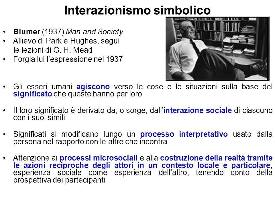 Interazionismo simbolico Blumer (1937) Man and Society Allievo di Park e Hughes, seguì le lezioni di G. H. Mead Forgia lui l'espressione nel 1937 Gli