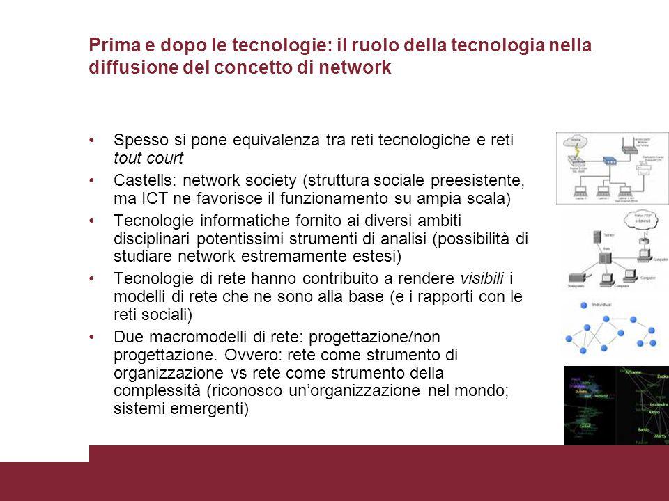 Prima e dopo le tecnologie: il ruolo della tecnologia nella diffusione del concetto di network Spesso si pone equivalenza tra reti tecnologiche e reti
