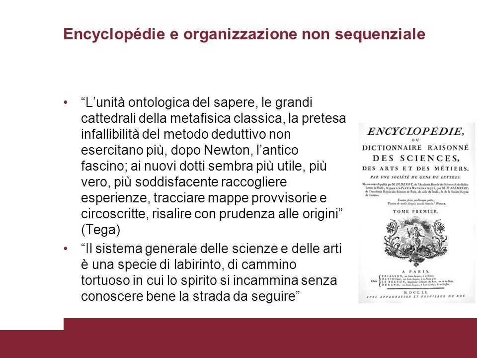 """Encyclopédie e organizzazione non sequenziale """"L'unità ontologica del sapere, le grandi cattedrali della metafisica classica, la pretesa infallibilità"""