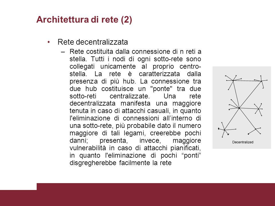 Architettura di rete (2) Rete decentralizzata –Rete costituita dalla connessione di n reti a stella. Tutti i nodi di ogni sotto-rete sono collegati un