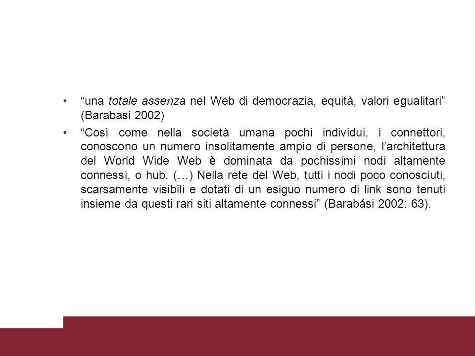 """""""una totale assenza nel Web di democrazia, equità, valori egualitari"""" (Barabasi 2002) """"Così come nella società umana pochi individui, i connettori, co"""