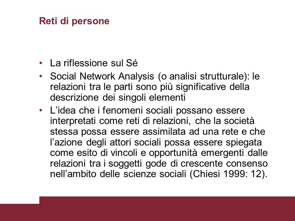 Reti di persone La riflessione sul Sé Social Network Analysis (o analisi strutturale): le relazioni tra le parti sono più significative della descrizi