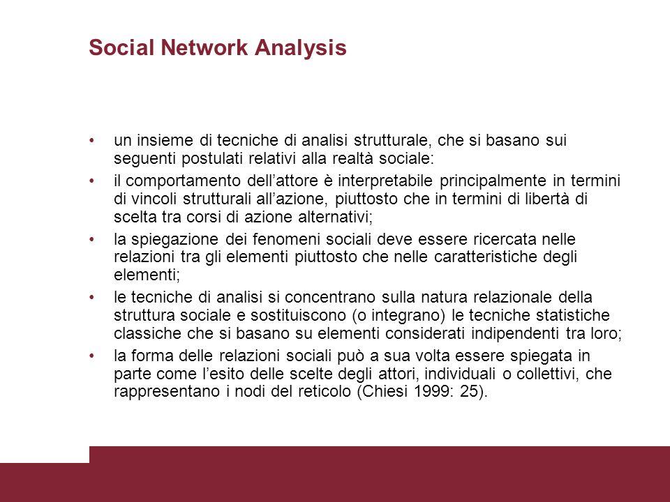 Social Network Analysis un insieme di tecniche di analisi strutturale, che si basano sui seguenti postulati relativi alla realtà sociale: il comportam