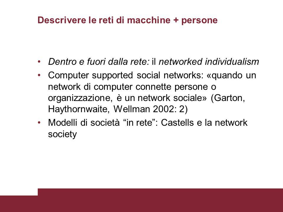 Descrivere le reti di macchine + persone Dentro e fuori dalla rete: il networked individualism Computer supported social networks: «quando un network