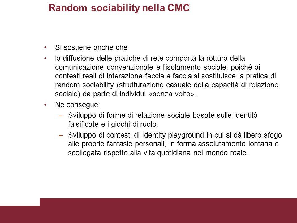 Random sociability nella CMC Si sostiene anche che la diffusione delle pratiche di rete comporta la rottura della comunicazione convenzionale e l'isol