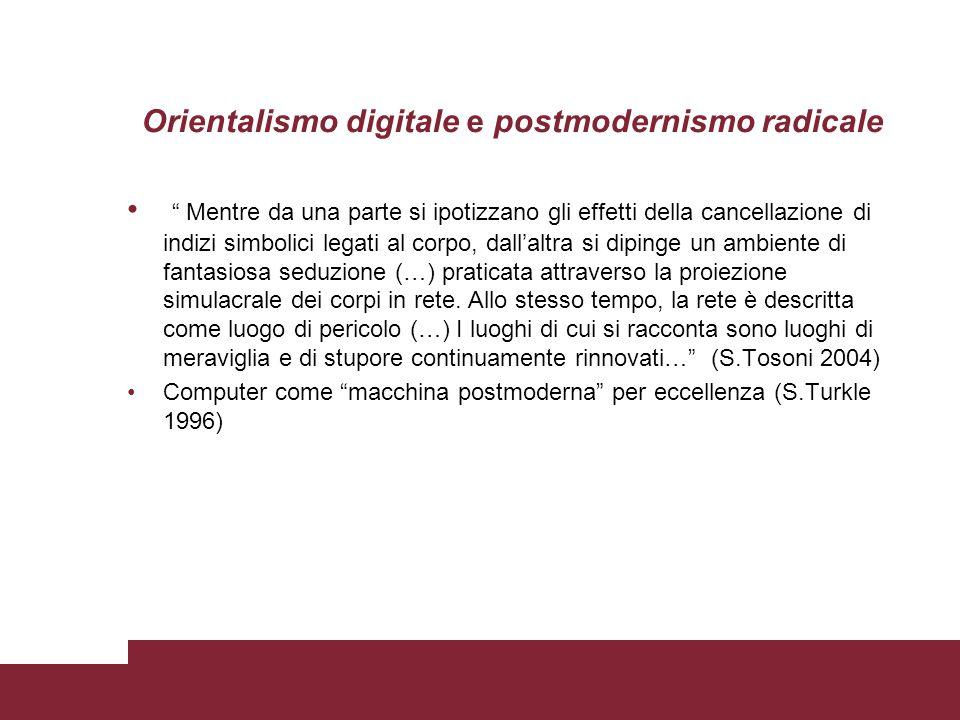 """Orientalismo digitale e postmodernismo radicale """" Mentre da una parte si ipotizzano gli effetti della cancellazione di indizi simbolici legati al corp"""